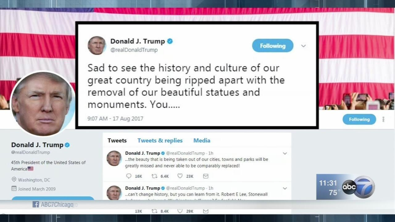 Trump decries monument removals