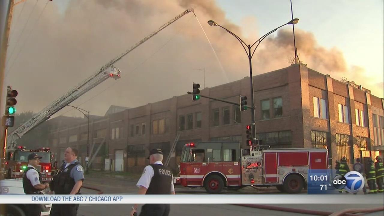 Old Zenith factory on fire in Belmont Cragin