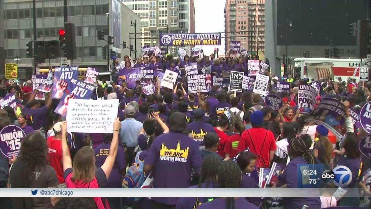 Protesters rally for higher wages on Labor Day