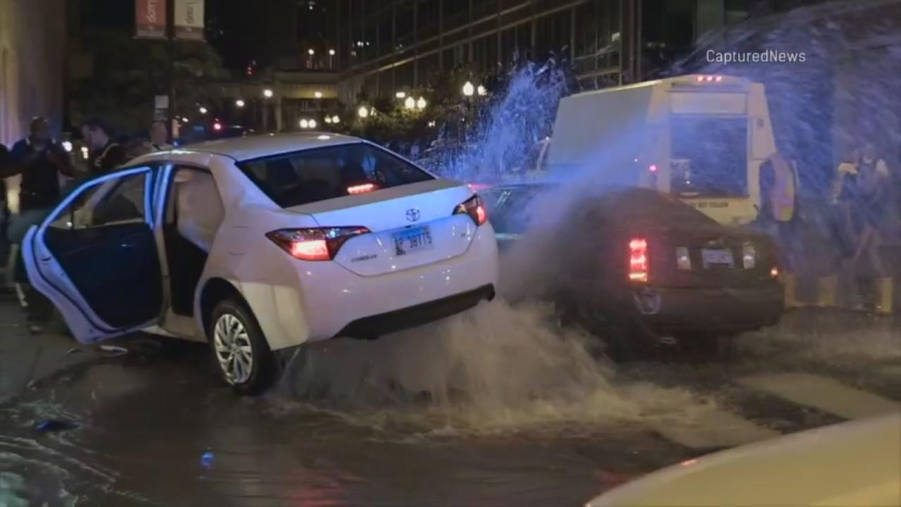 Two cars crash into hydrant