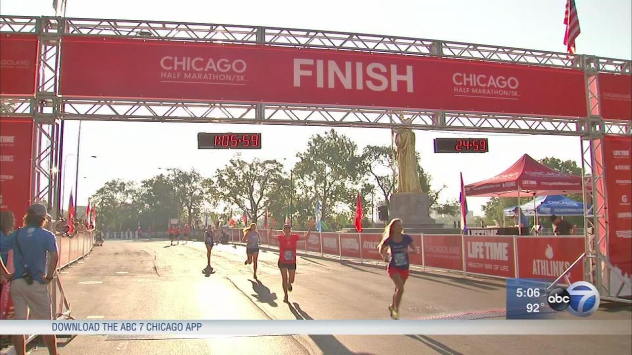 Runners take on Chicago Half-Marathon in record heat