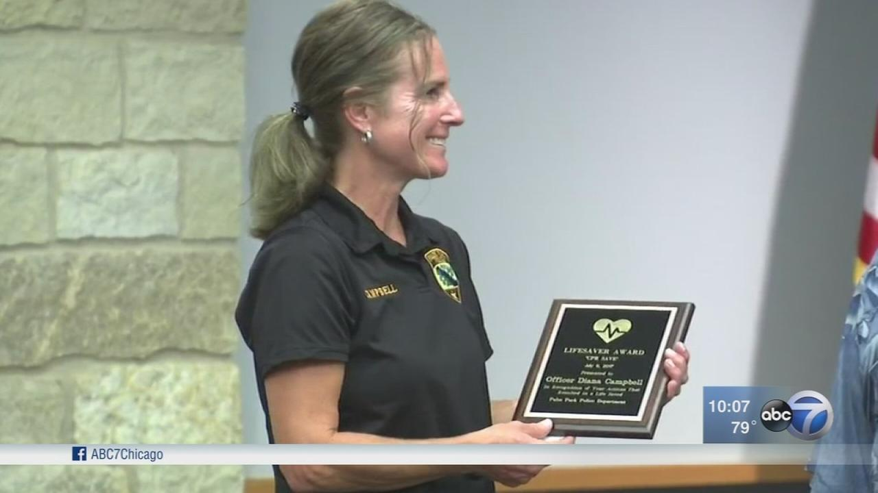 Palos Park police officer honored for saving mans life