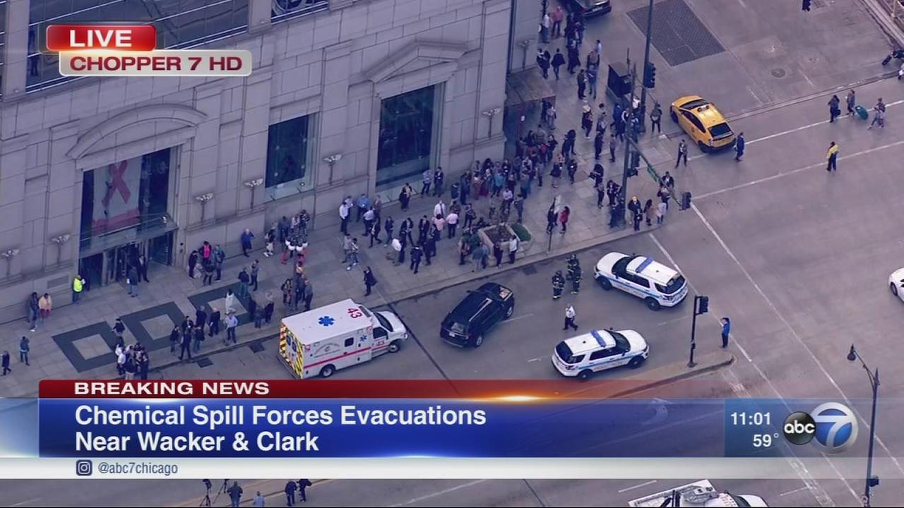 Chemical spill reported on West Wacker