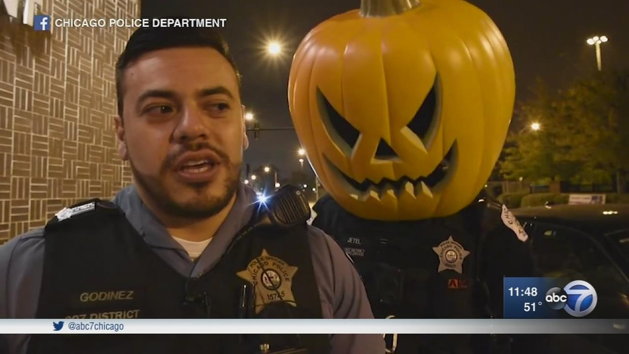 Chicago officers have fun sharing Halloween safety tips