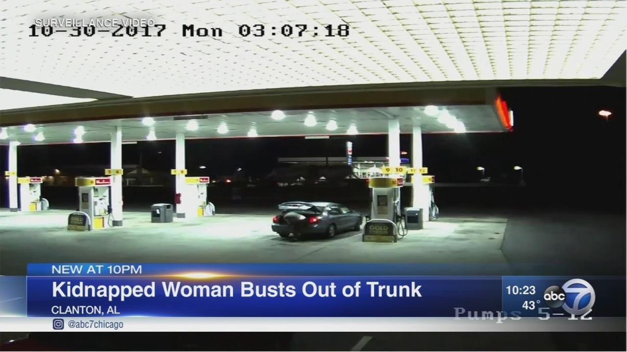 Kidnapped woman?s escape from car trunk caught on video