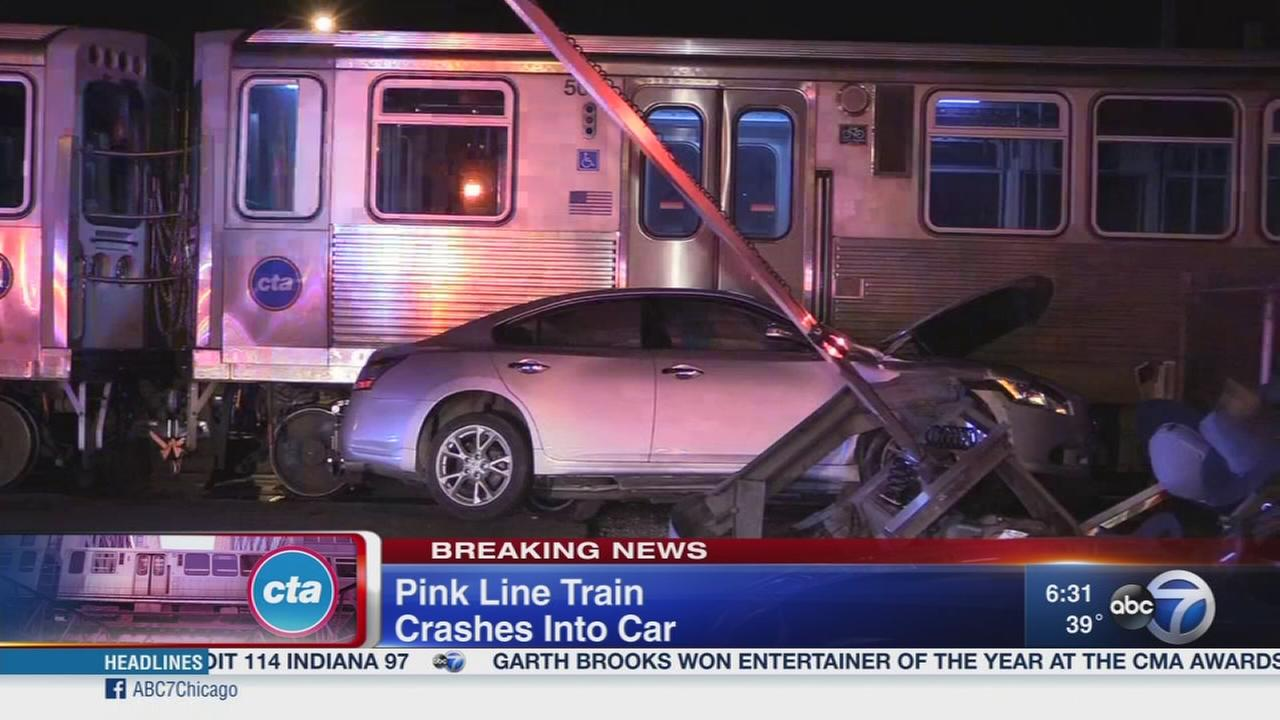 CTA Pink Line train slams into car