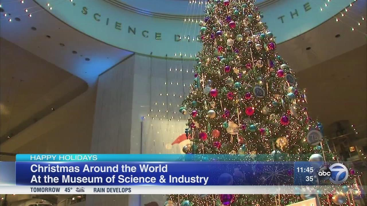 Christmas tree display up at Museum of Science and Industry
