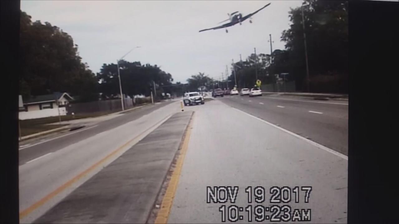 Small plane crash caught on dashcam video