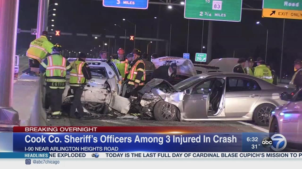 2 officers among 3 hurt in I-90 crash