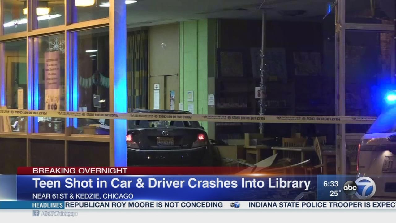 Teen shot in stolen car, which crashed into library