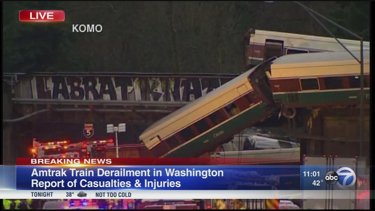 Amtrak train derails onto highway in Wash.