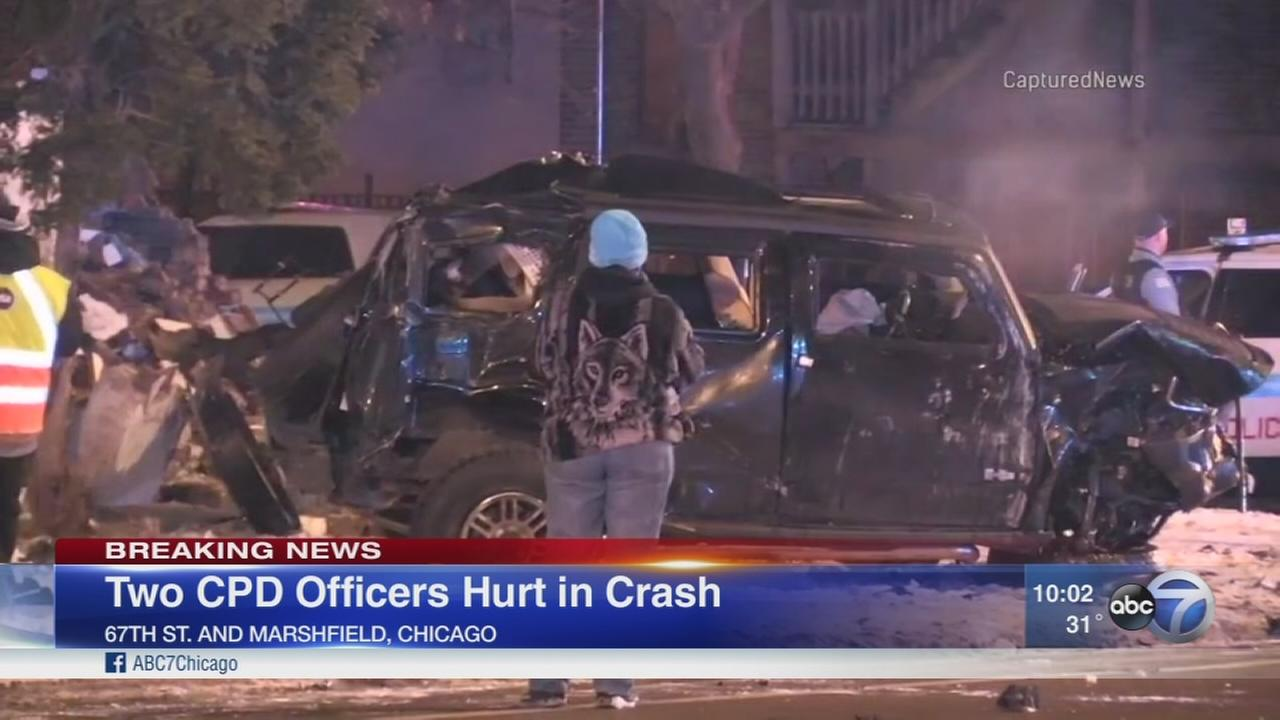 2 CPD officers injured after Hummer strikes squad car, police say