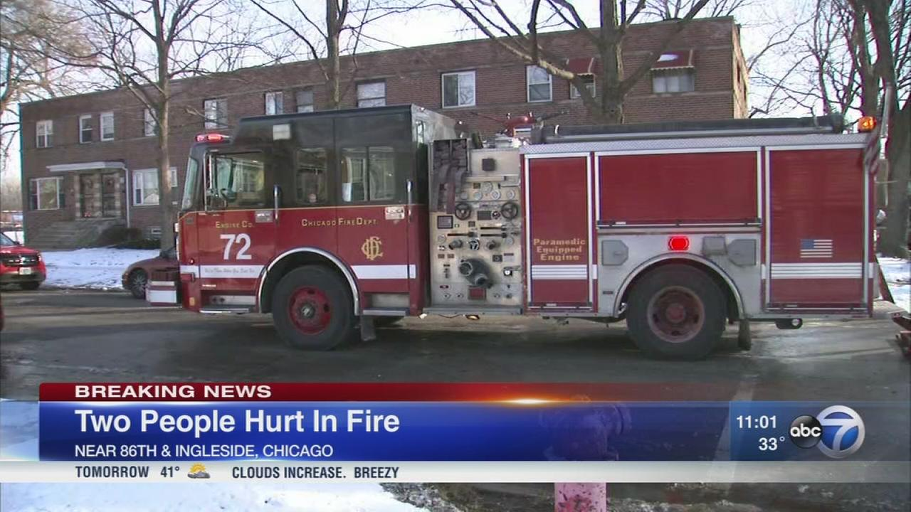 86th Street fire sends 2 to hospital