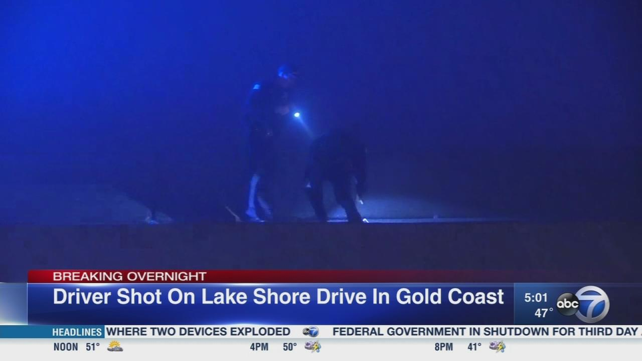 Driver shot on Lake Shore Drive in Gold Coast