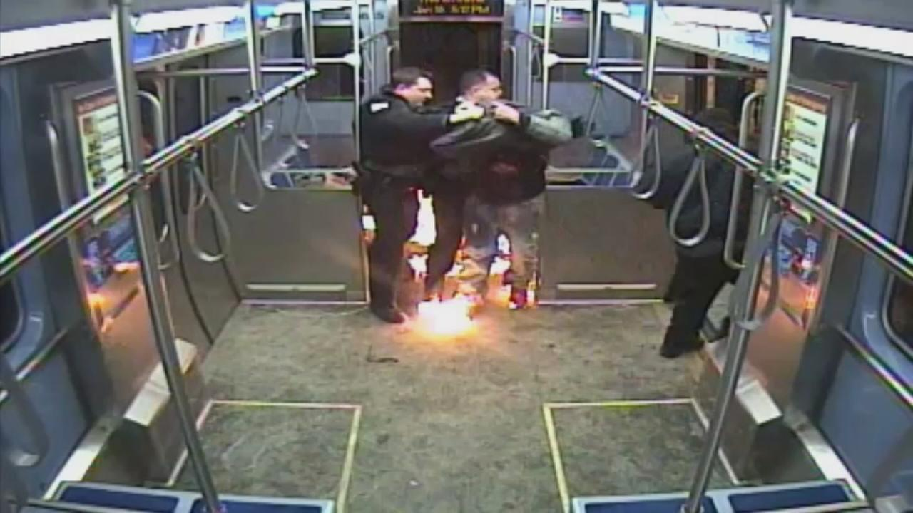 Surveillance video shows man setting CTA car on fire