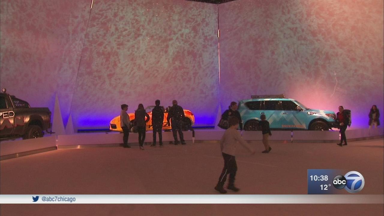 Snow brought inside at Chicago Auto Show