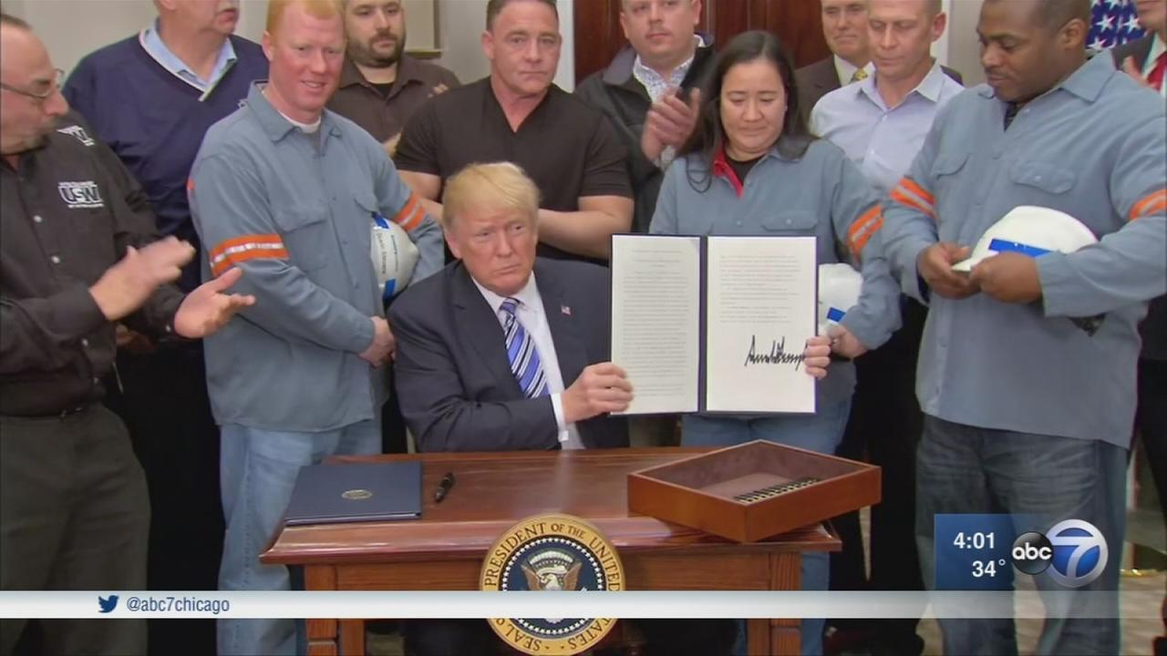 President Donald Trump announces tariffs on steel, aluminum