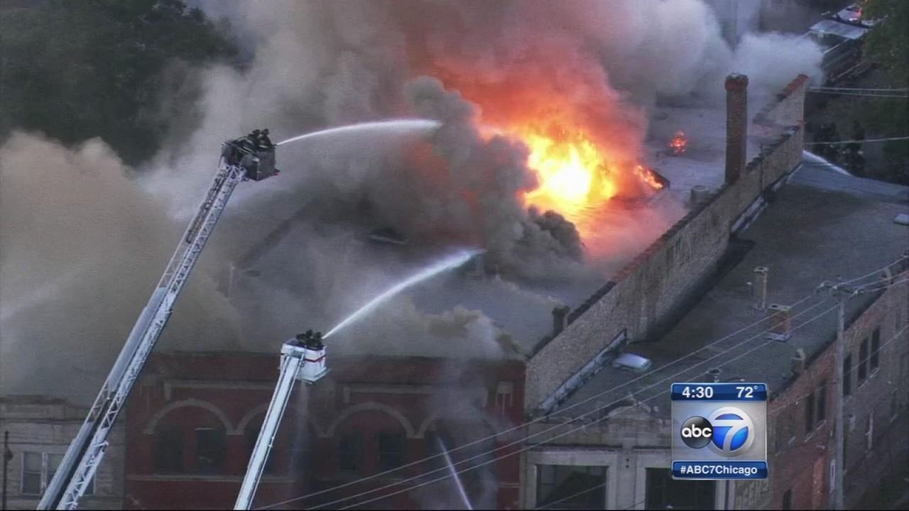 Building destroyed by fire in North Lawndale