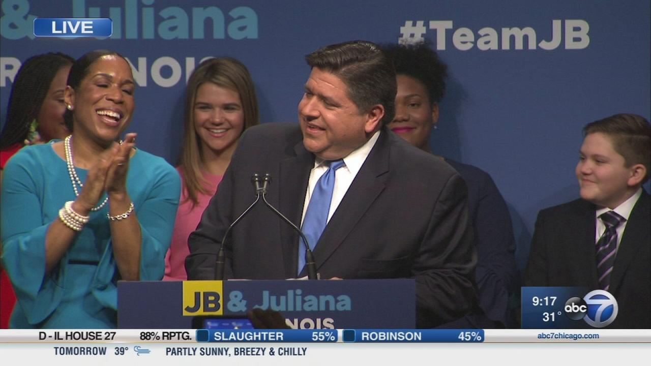 JB Pritzker and Juliana Stratton address supporters