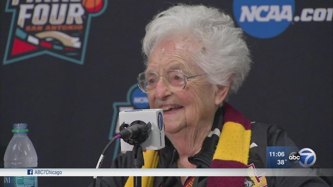 Sister Jean speaks as Loyola fans head south