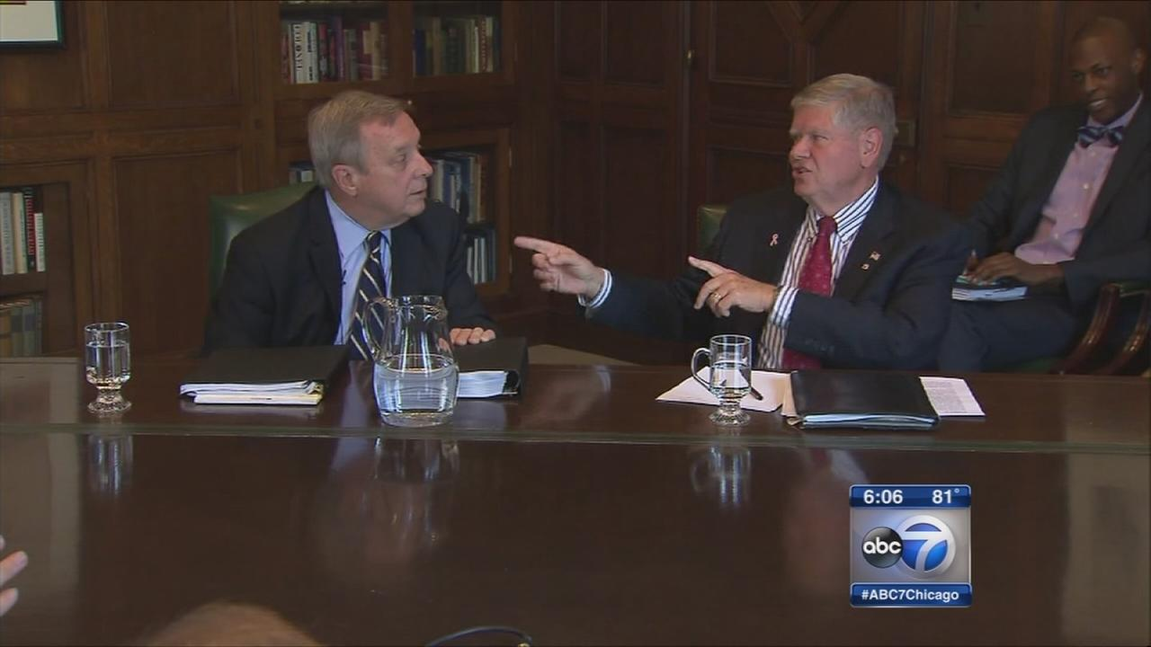Durbin, Oberweis debate in front of Tribune editors