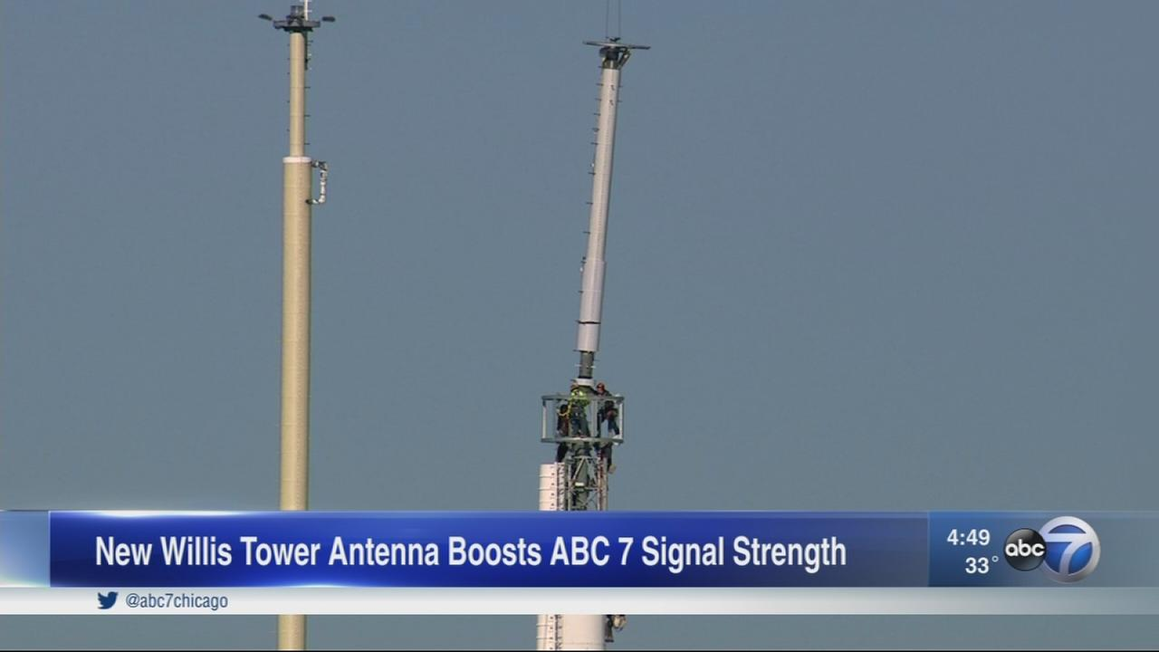 New ABC7 antenna on Willis Tower