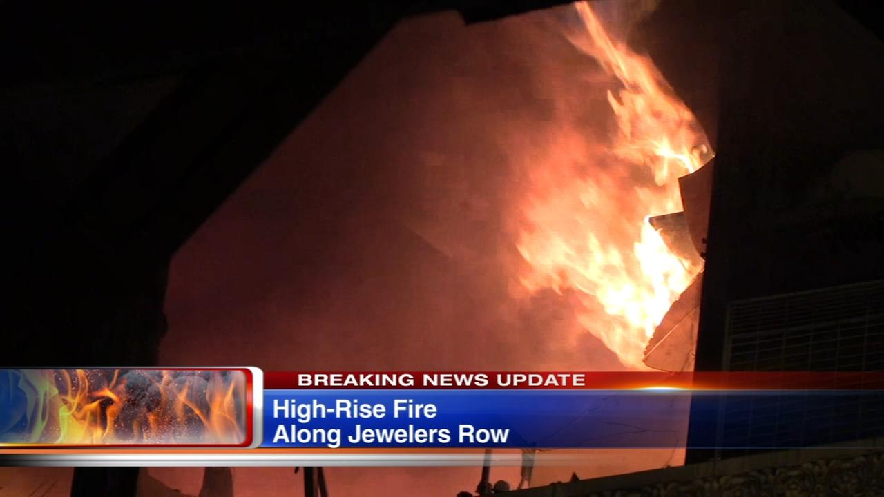 Fire damages Jewelers Row high-rise, 2 firefighters injured