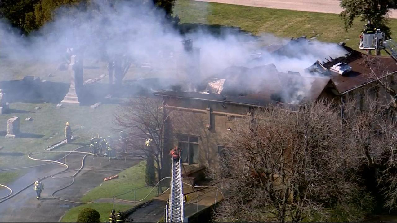 Chopper 7HD over fire at Schiller Park cemetery