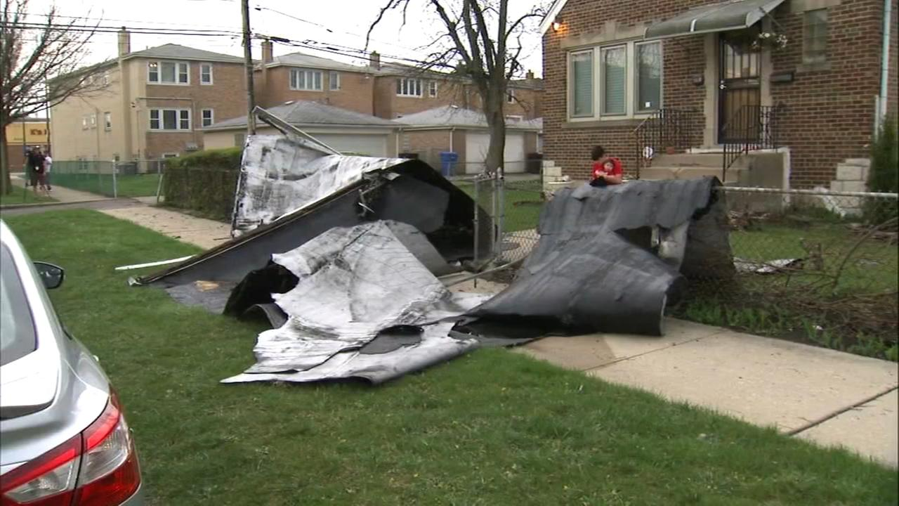 Roofs badly damaged in Grand Boulevard, Garfield Ridge by fast-moving, strong storms