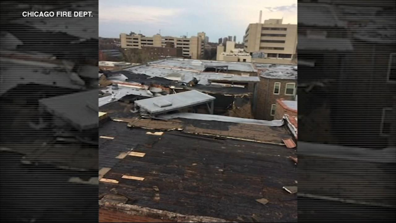 Roof of Bronzeville apartment building severely damaged by microburst