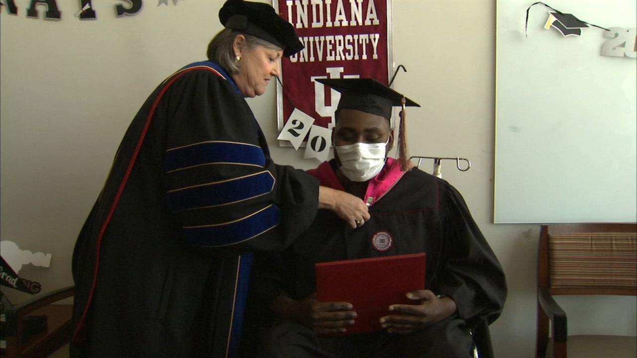 Heart transplant recipient receives diploma in hospital