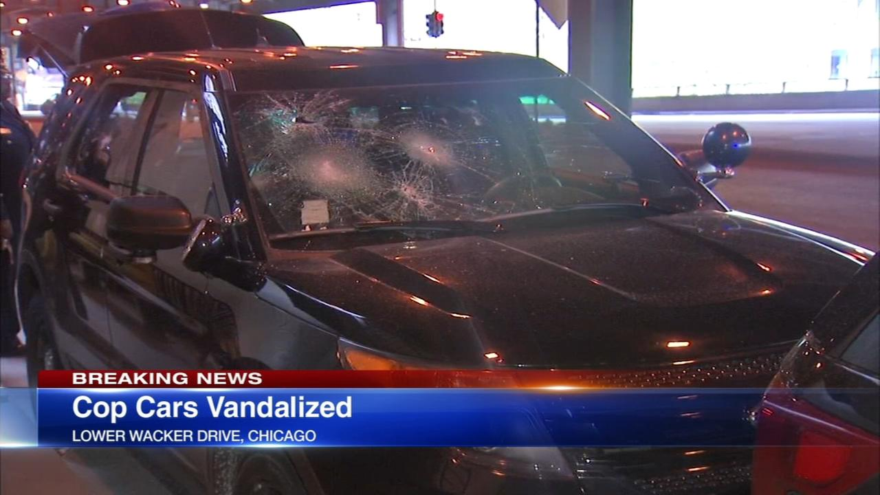 Police cars vandalized on Lower Wacker Drive during recognition ceremony