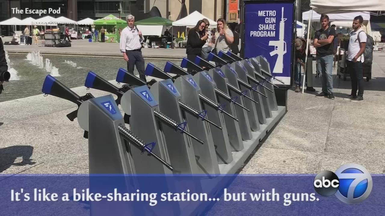Gun-sharing station in Chicago uses art to make point about gun violence