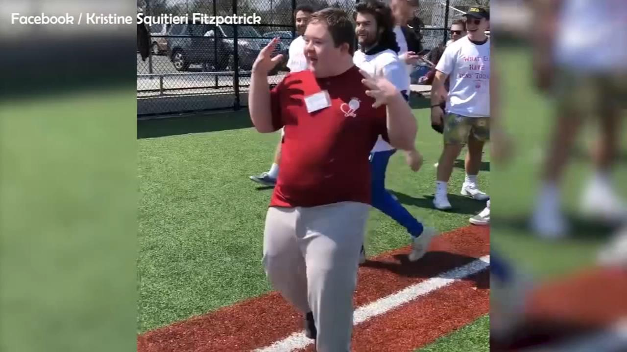 Boy with Down Syndrome hits home run, does celebratory dance