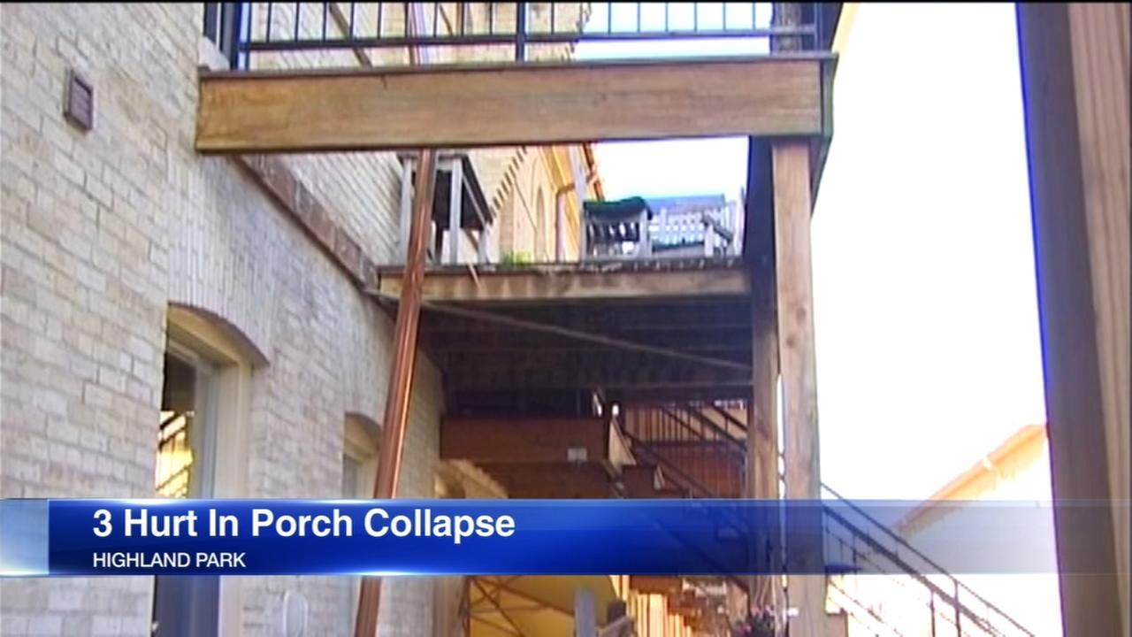 3 injured in Highland Park porch collapse