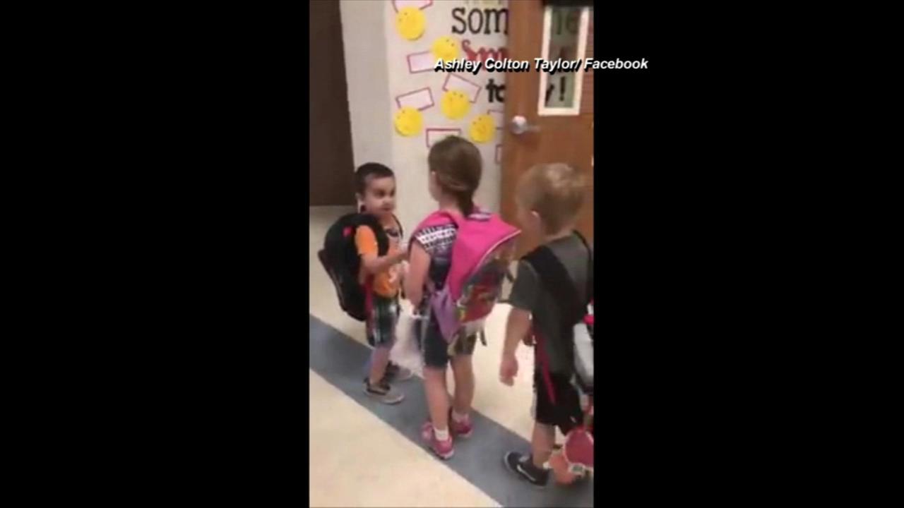 VIDEO: Kindergarteners take turns greeting classmates each day