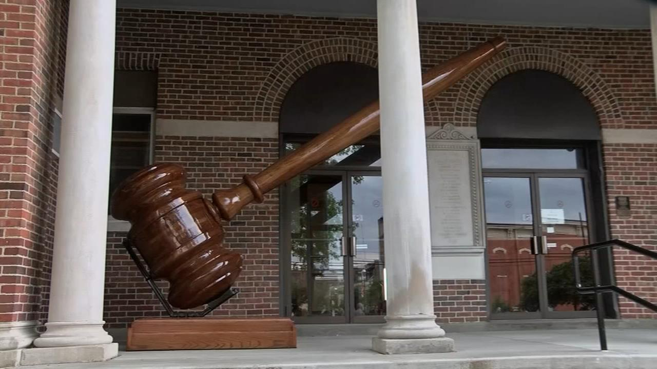 Worlds largest gavel unveiled outside courthouse in Marshall, Ill.