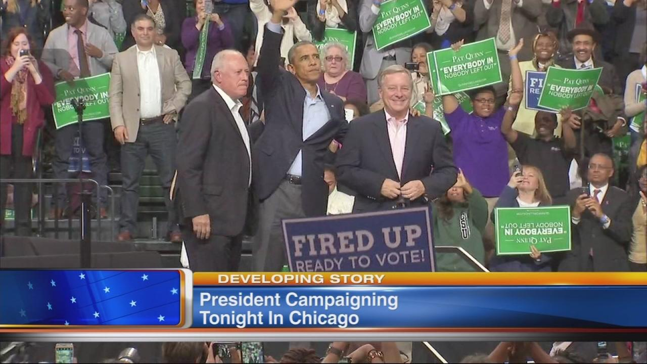 Pres. Obama campaigns for Gov. Quinn in Chicago