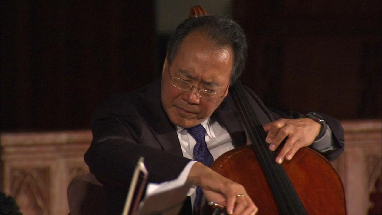 Cellist Yo-Yo Ma performs at St. Sabina Church on South Side