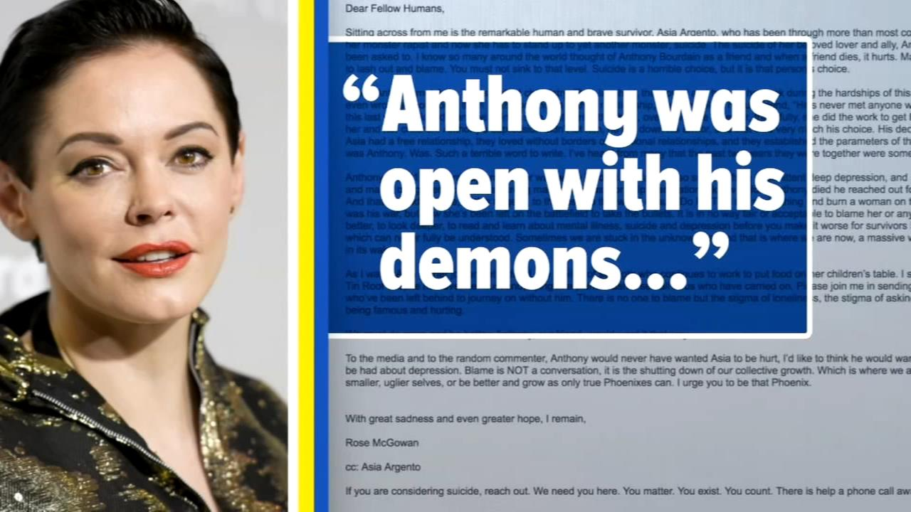Rose McGowan, friend of Anthony Bourdains girlfriend, writes letter about chef's death