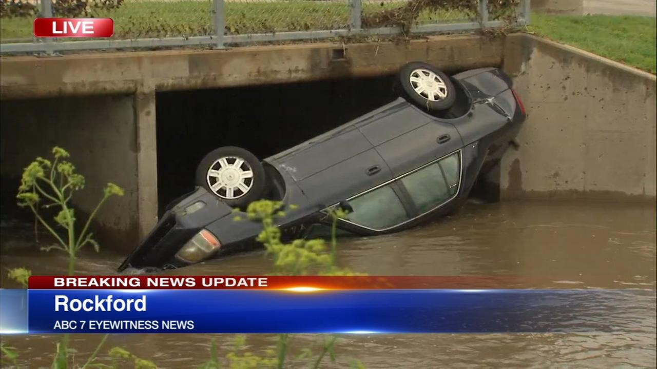 Chicago Weather: Powerful floodwater strands drivers, overturns car in Rockford