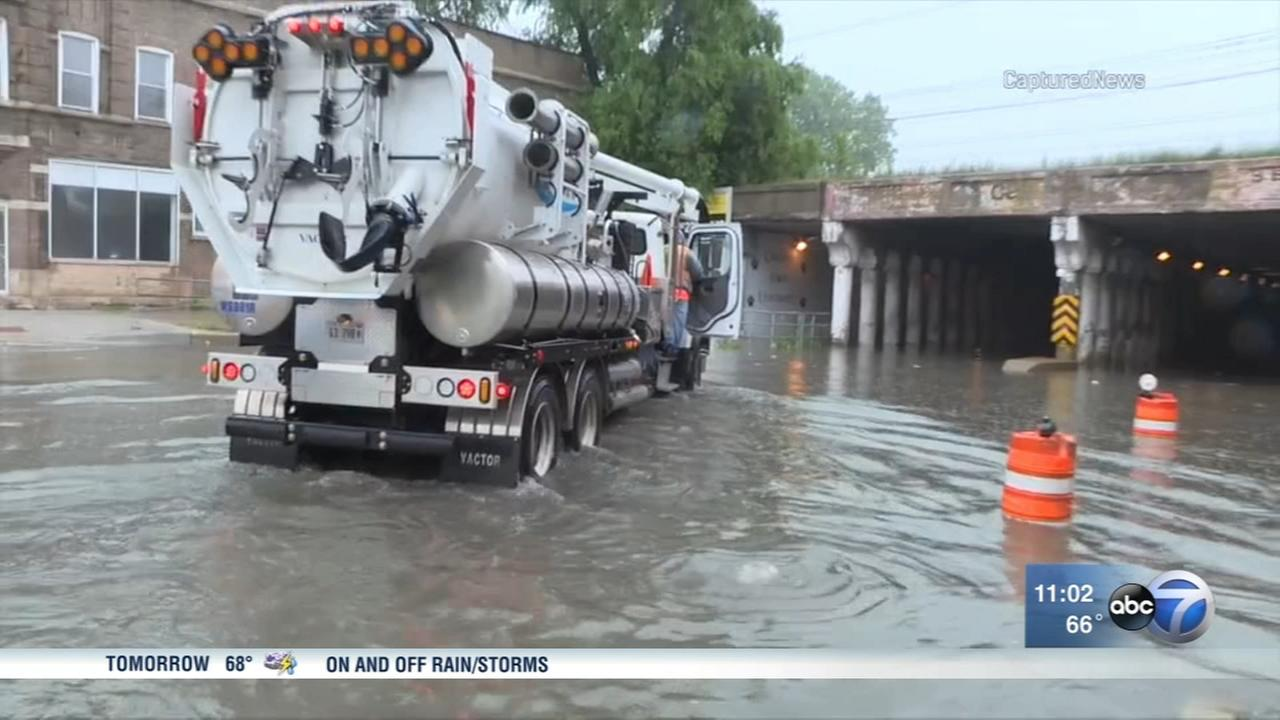 Heavy rains flood streets across Chicago area