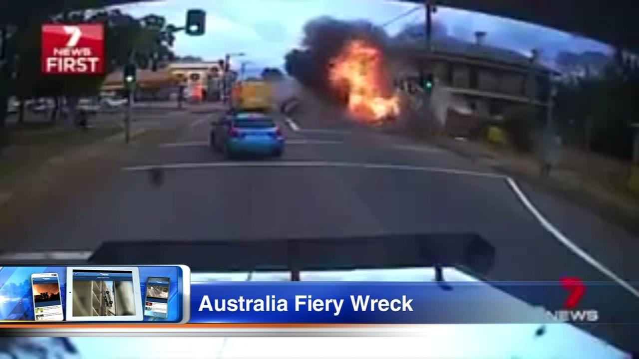 VIDEO: Truck rampage ends with fiery crash in Australia