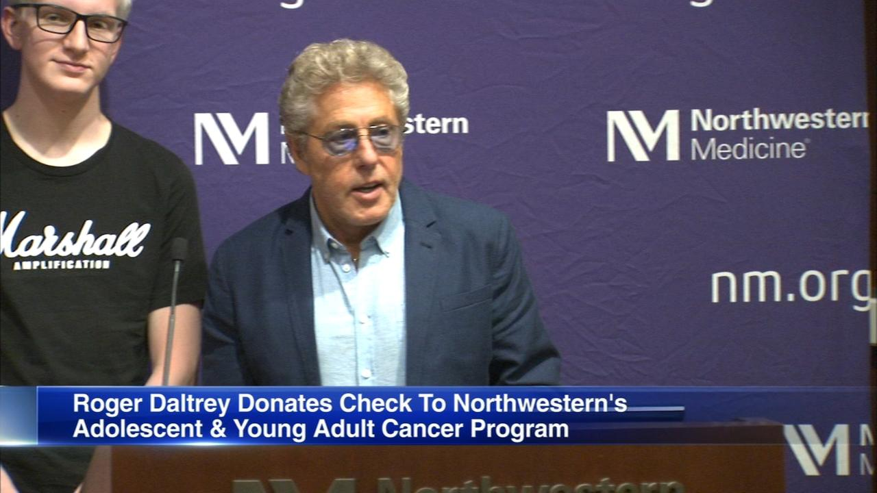 Roger Daltrey donates check to Northwestern's adolescent and young adult cancer program