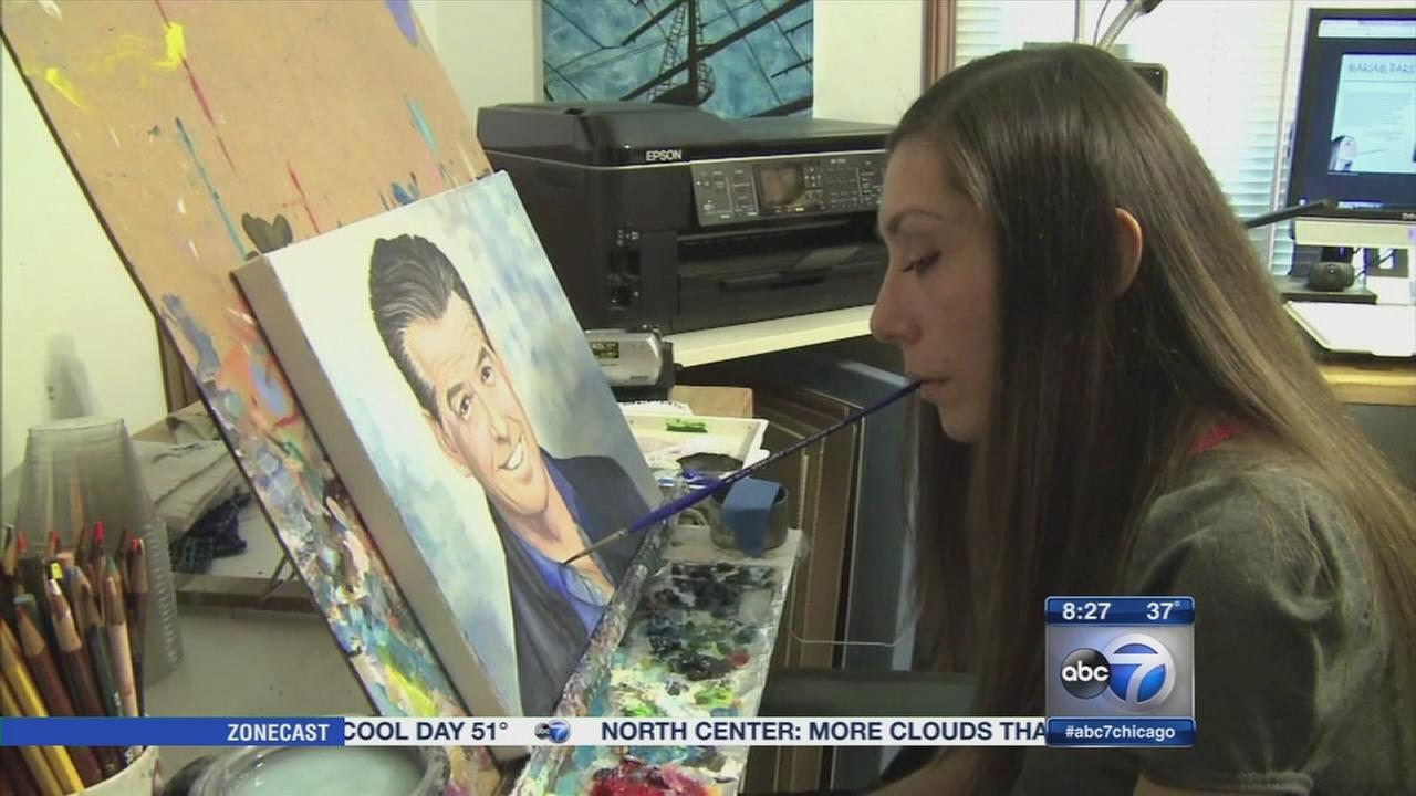 Woman creates art by painting with mouth after paralysis