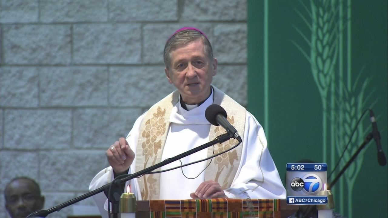 Archbishop Blase Cupich holds first Mass at St. Agathas
