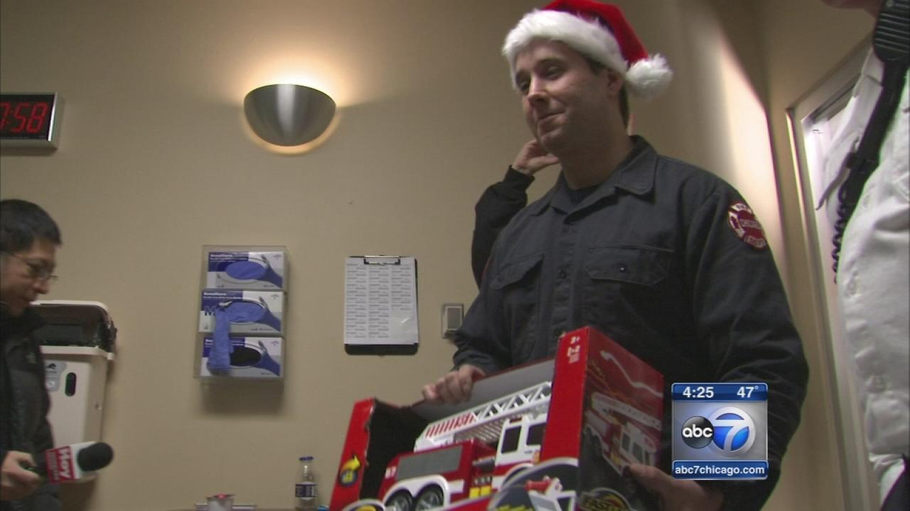 Firefighters Deliver Christmas Gifts To Sick Kids