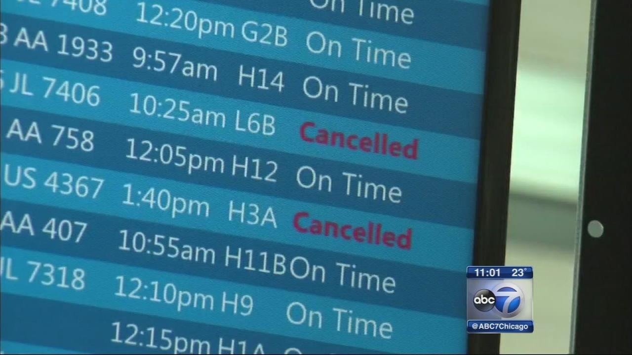 Flights in Chicago canceled by East Coast storm