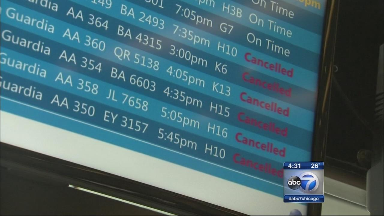 Flights canceled in Chicago due to Noreaster