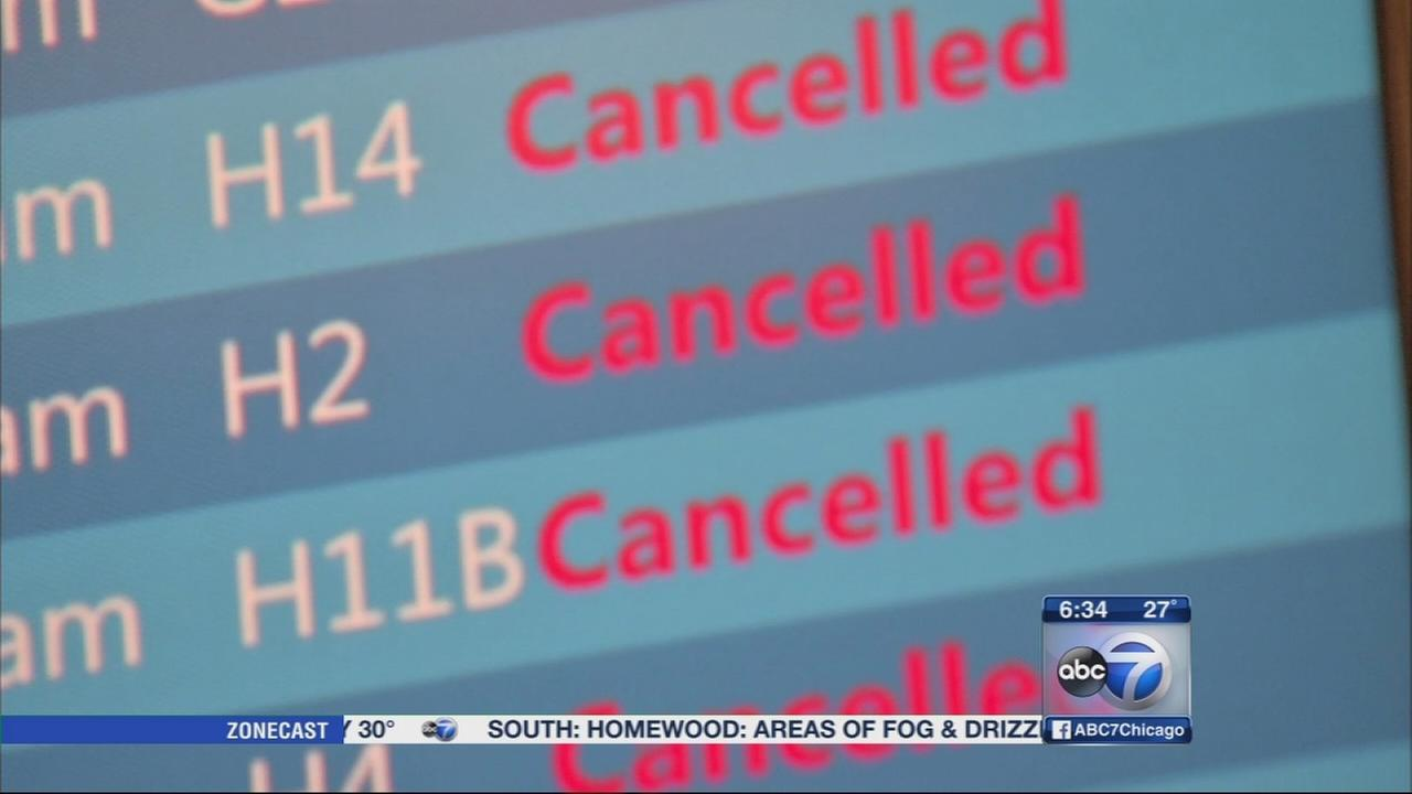 Flights cancelled at OHare, Midway due to Northeast blizzard